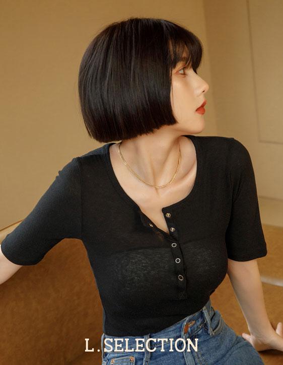 選品系列:半門襟五分袖上衣