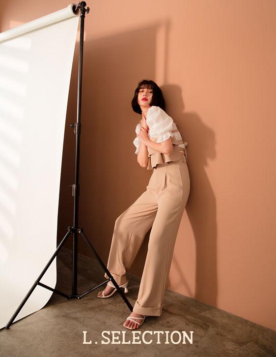 選品系列:平口荷葉西裝褲套裝