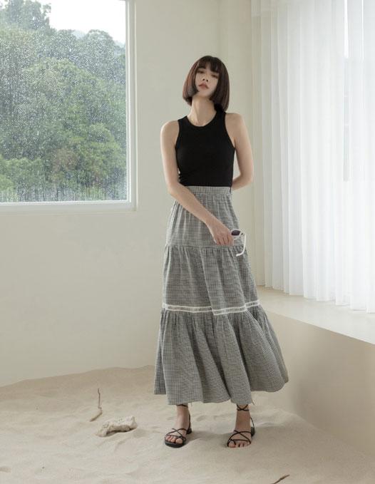 格紋剪接長裙