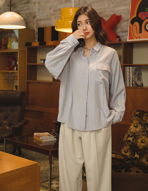 絲滑寬鬆襯衫