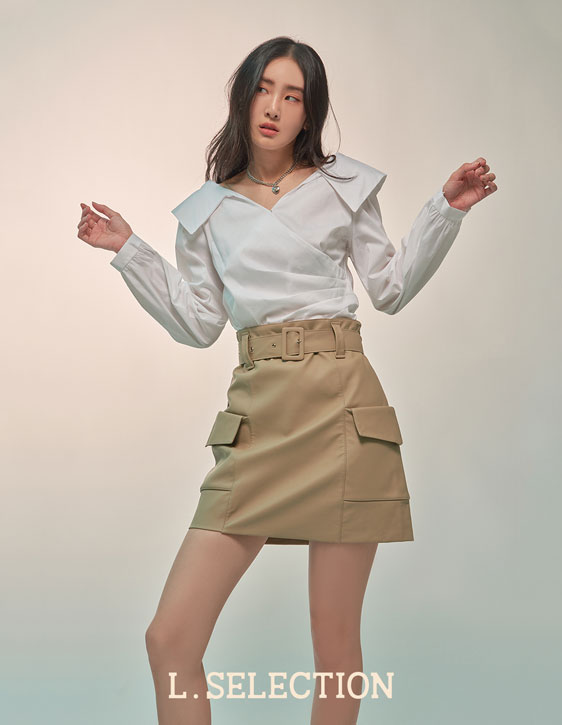 選品系列:兩側口袋人造皮裙